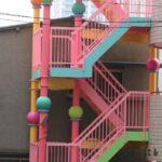 デザイン塗装 非常階段 多色塗装