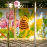 商店街 壁画 ブロック塀