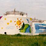 下水処理施設タンク 壁画