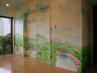 一般住宅 室内壁画「ハワイの風景」